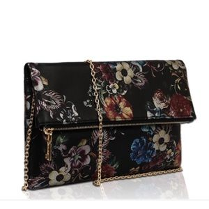 Black Floral + Gold Vegan Clutch